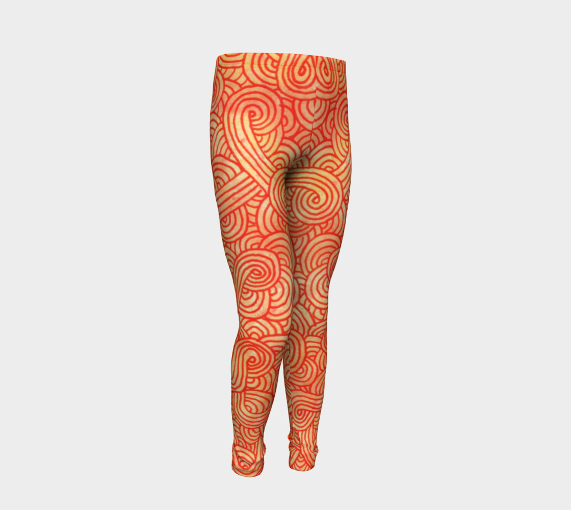 Orange and red swirls doodles Youth Leggings preview #2