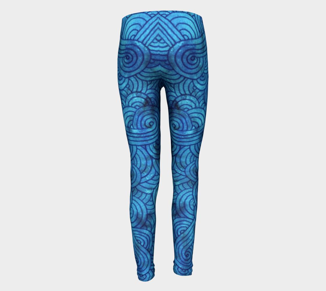 Aperçu de Turquoise blue swirls doodles Youth Leggings #5