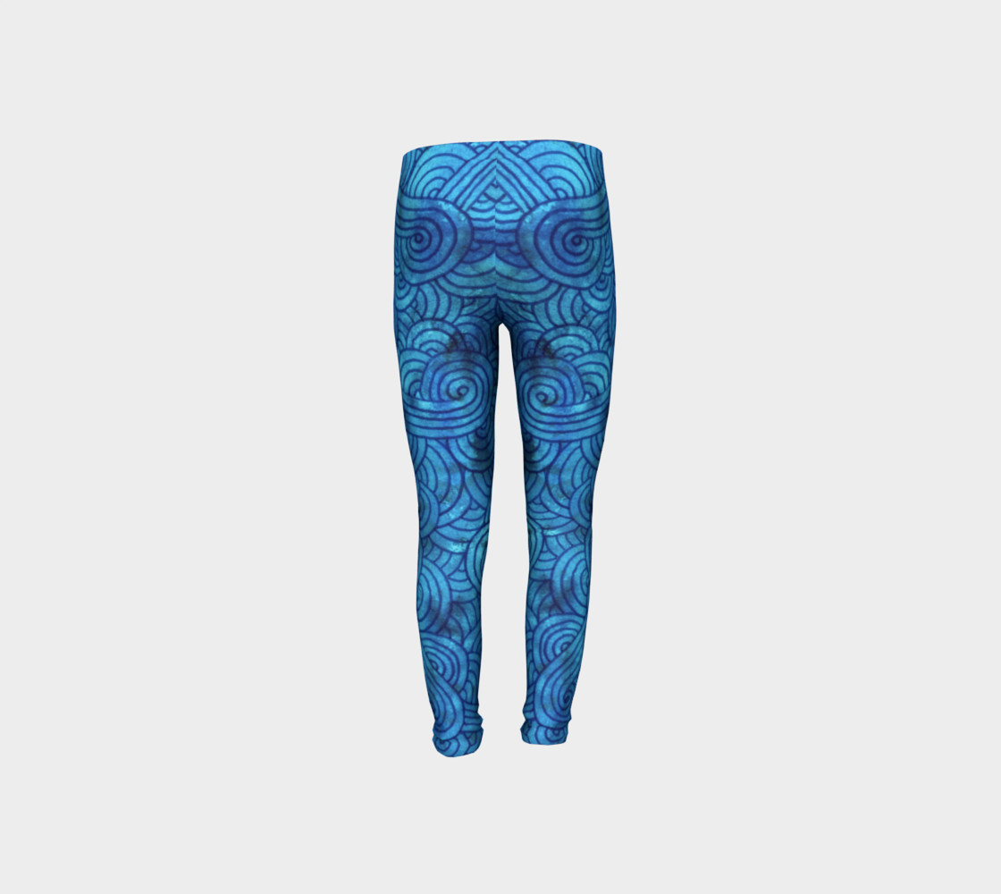 Aperçu de Turquoise blue swirls doodles Youth Leggings #8