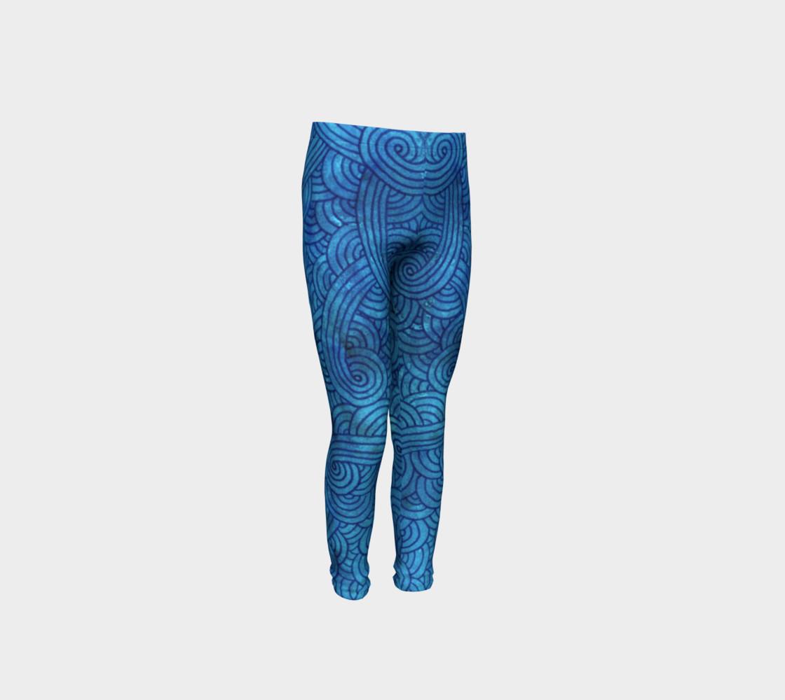 Aperçu de Turquoise blue swirls doodles Youth Leggings #4