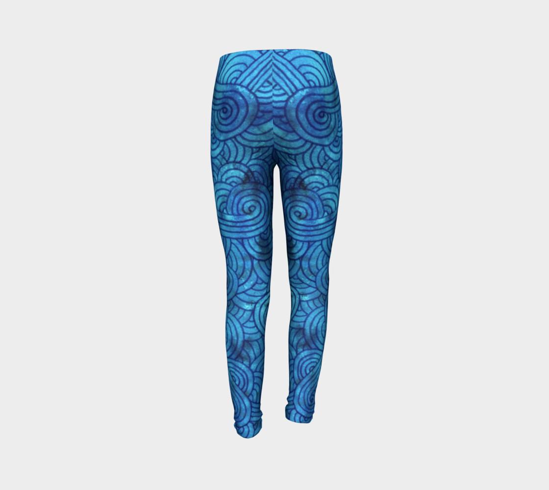 Aperçu de Turquoise blue swirls doodles Youth Leggings #7