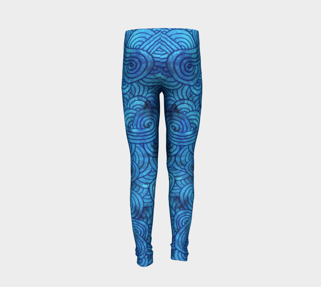 Aperçu de Turquoise blue swirls doodles Youth Leggings #6
