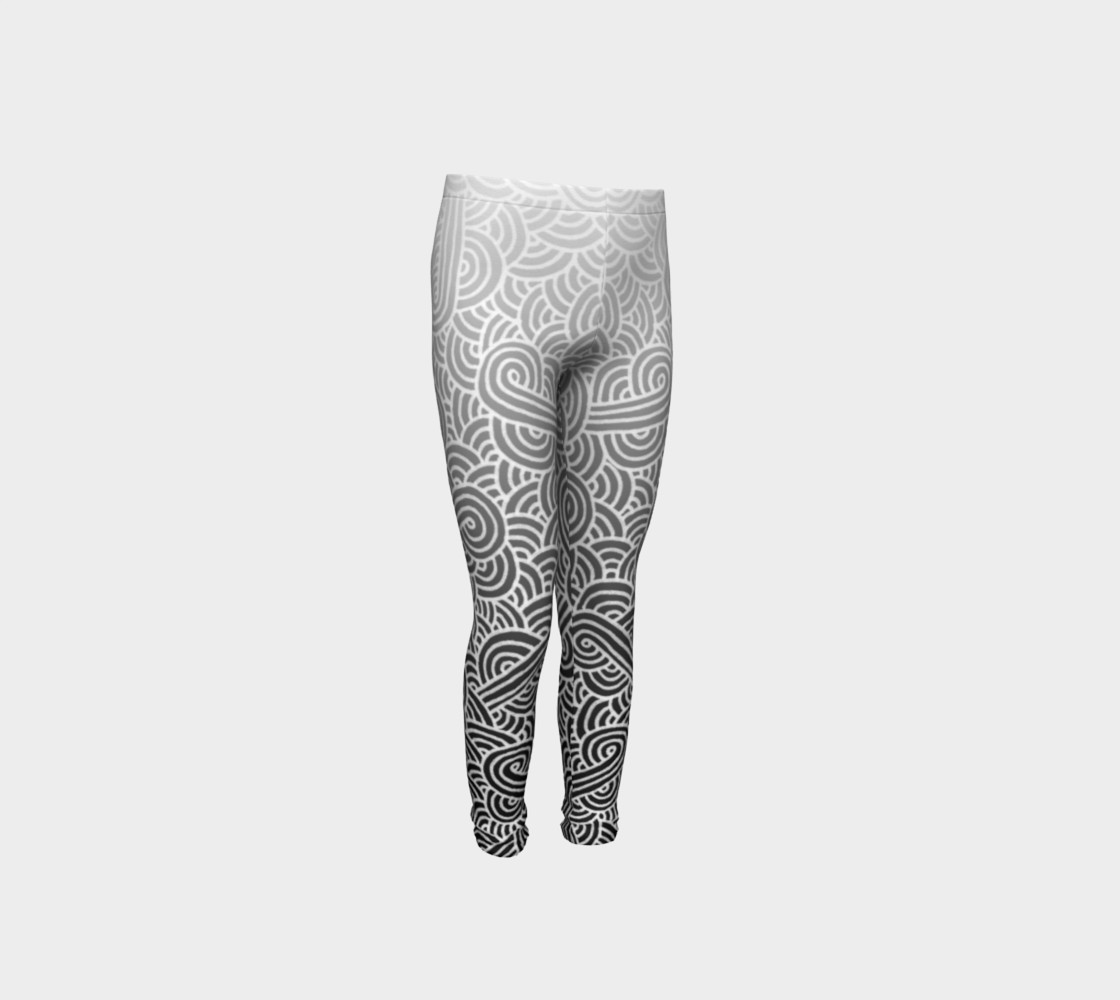 Ombre black and white swirls doodles Youth Leggings preview #4
