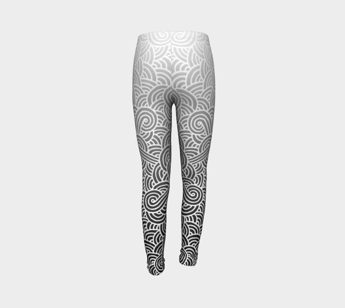 Ombre black and white swirls doodles Youth Leggings preview #7