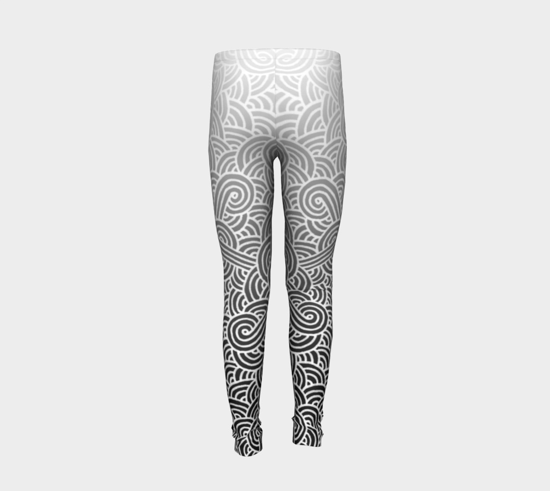Ombre black and white swirls doodles Youth Leggings preview #6