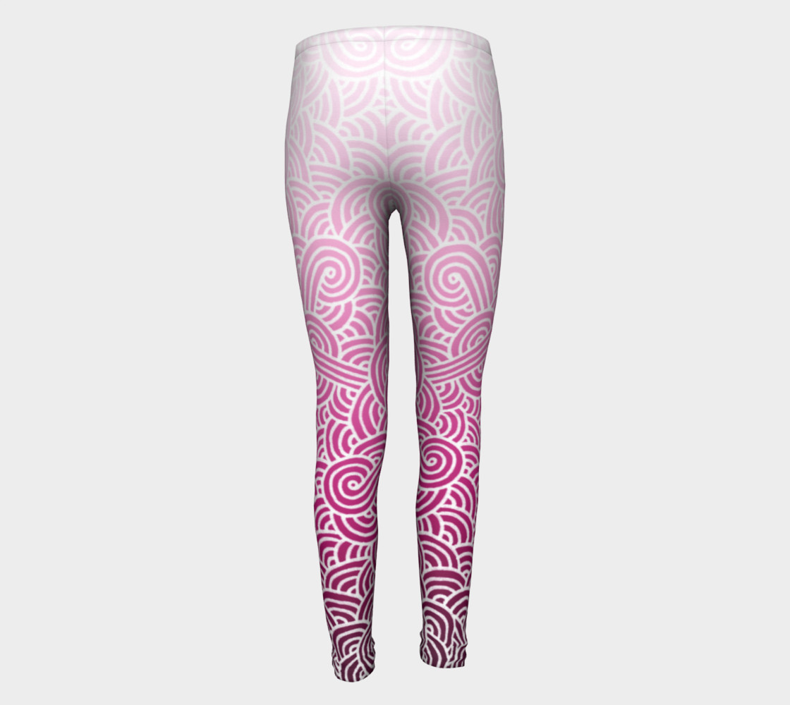 Ombre pink and white swirls doodles Youth Leggings preview #5