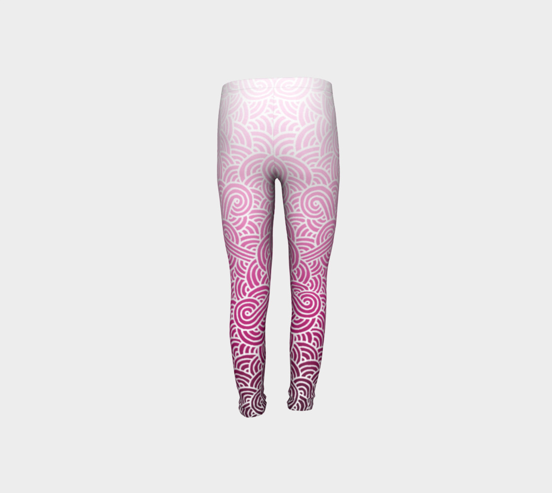 Ombre pink and white swirls doodles Youth Leggings preview #8