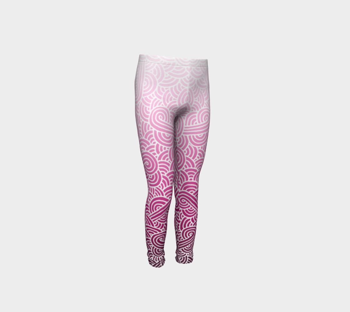 Ombre pink and white swirls doodles Youth Leggings preview #4