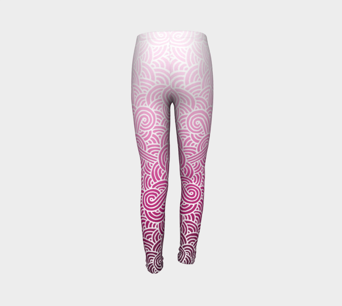 Ombre pink and white swirls doodles Youth Leggings preview #7