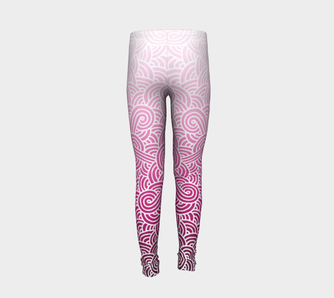 Ombre pink and white swirls doodles Youth Leggings preview #6