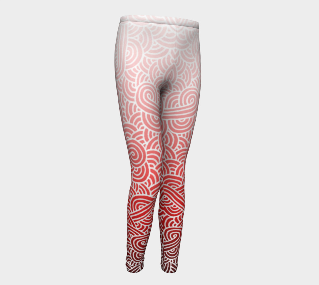 Ombre red and white swirls doodles Youth Leggings preview #1
