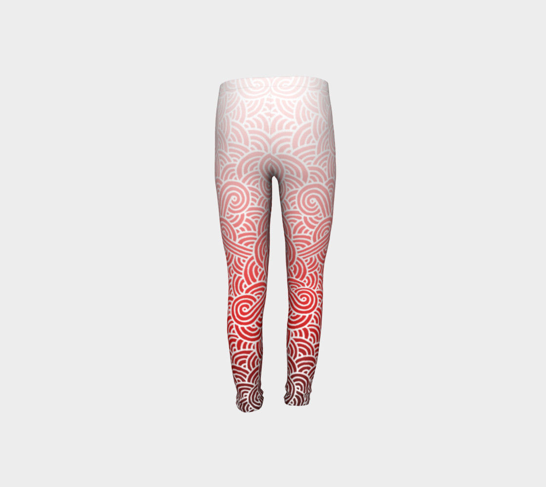 Ombre red and white swirls doodles Youth Leggings preview #8