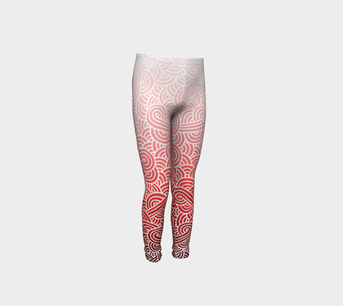 Ombre red and white swirls doodles Youth Leggings preview #4
