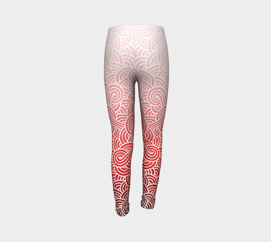 Ombre red and white swirls doodles Youth Leggings preview #7