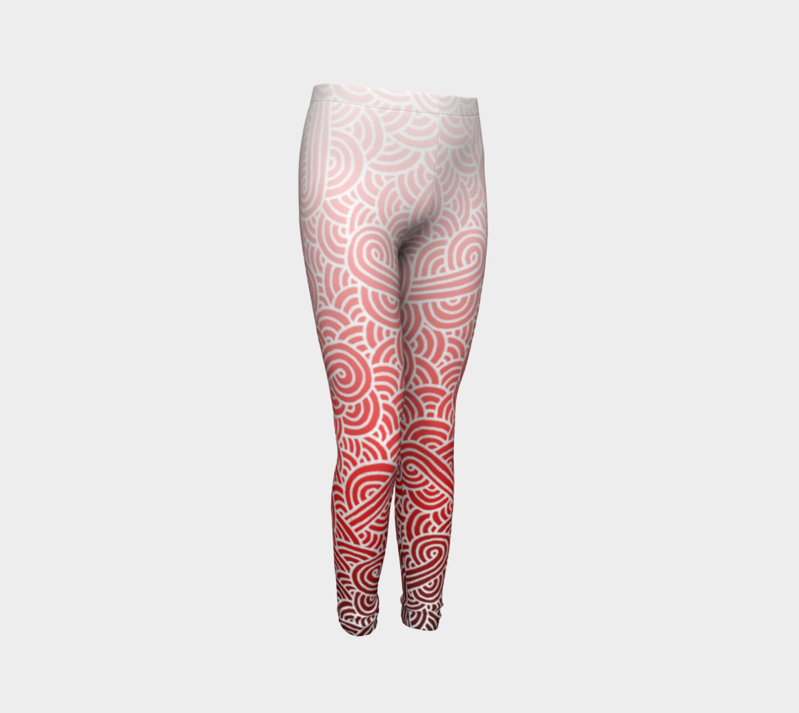 Ombre red and white swirls doodles Youth Leggings preview #3