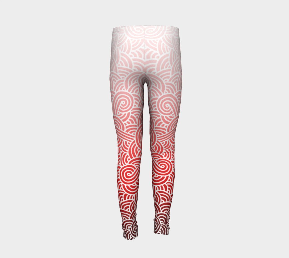 Ombre red and white swirls doodles Youth Leggings preview #6