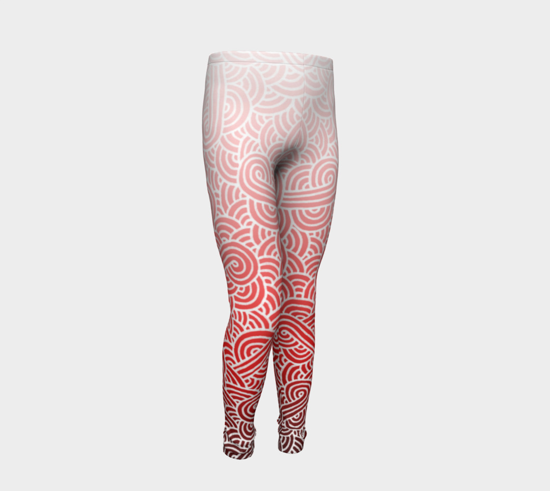 Ombre red and white swirls doodles Youth Leggings preview #2