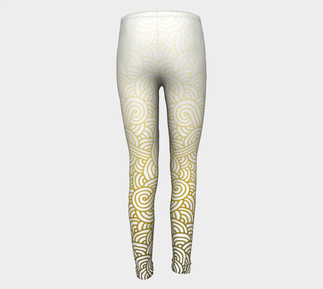 Gradient yellow and white swirls doodles Youth Leggings preview #5