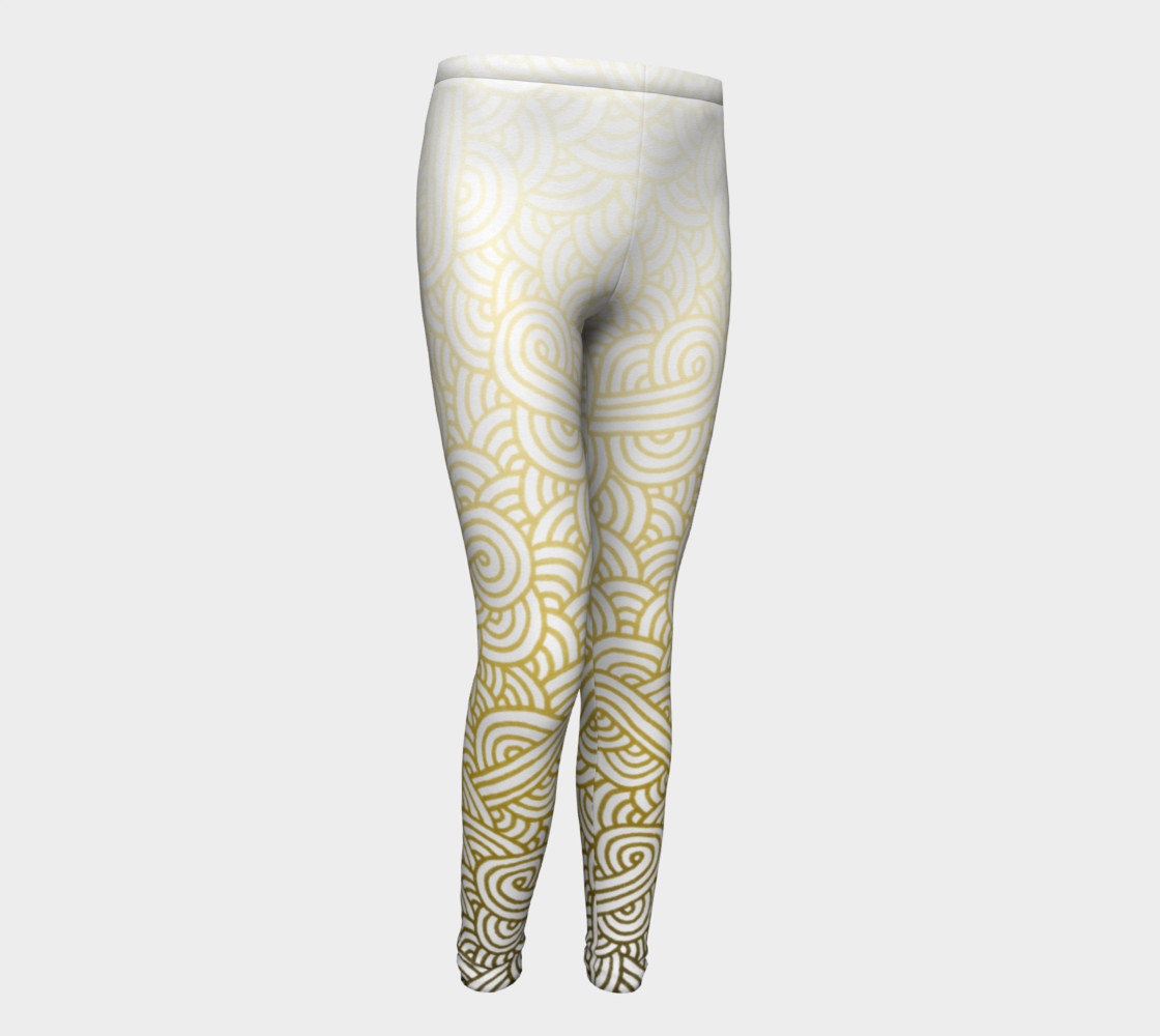Gradient yellow and white swirls doodles Youth Leggings preview #1