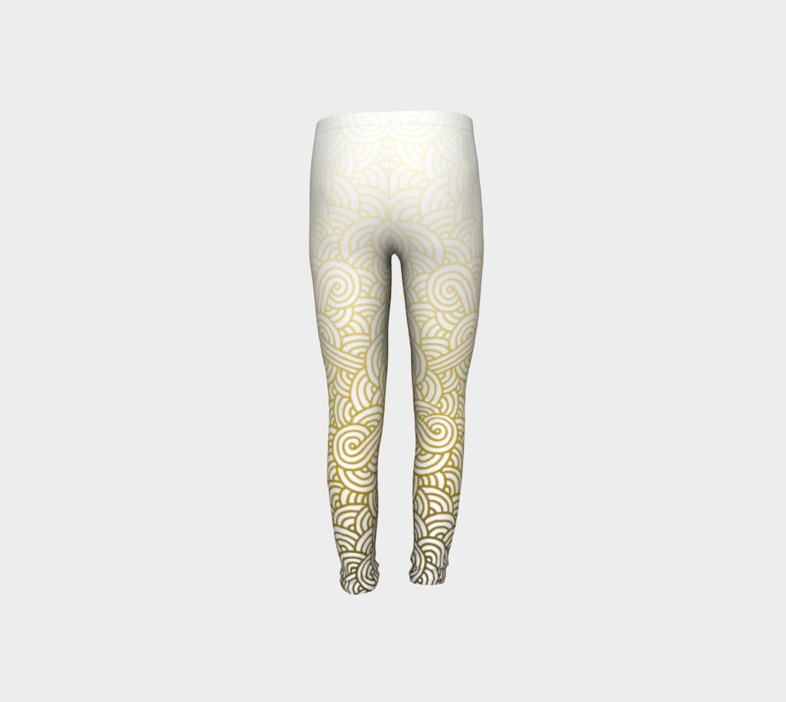 Gradient yellow and white swirls doodles Youth Leggings preview #8