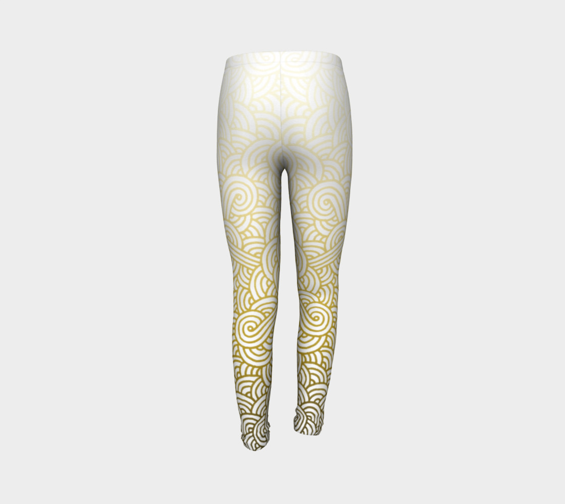 Gradient yellow and white swirls doodles Youth Leggings preview #7