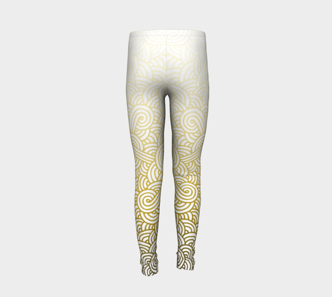 Gradient yellow and white swirls doodles Youth Leggings preview #6