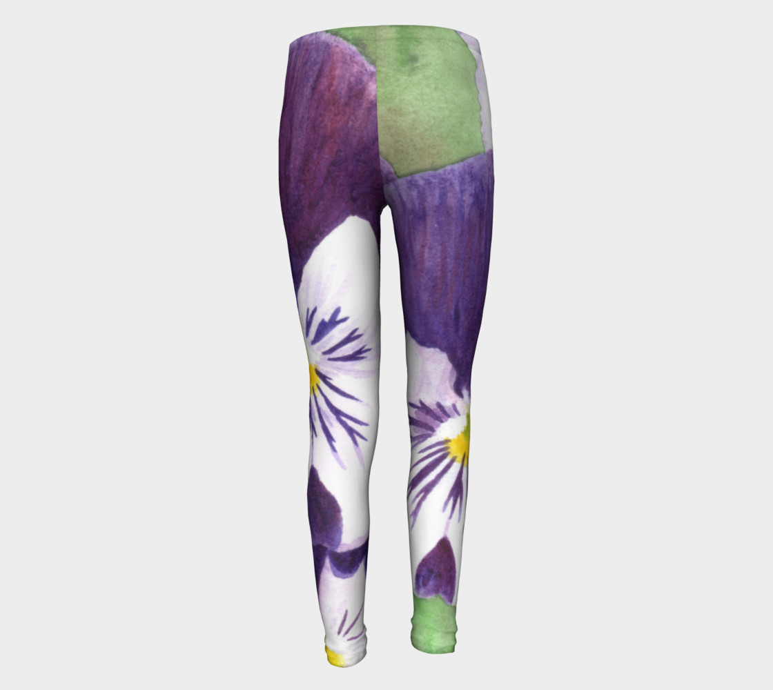 Purple and white pansies flowers Youth Leggings preview #5