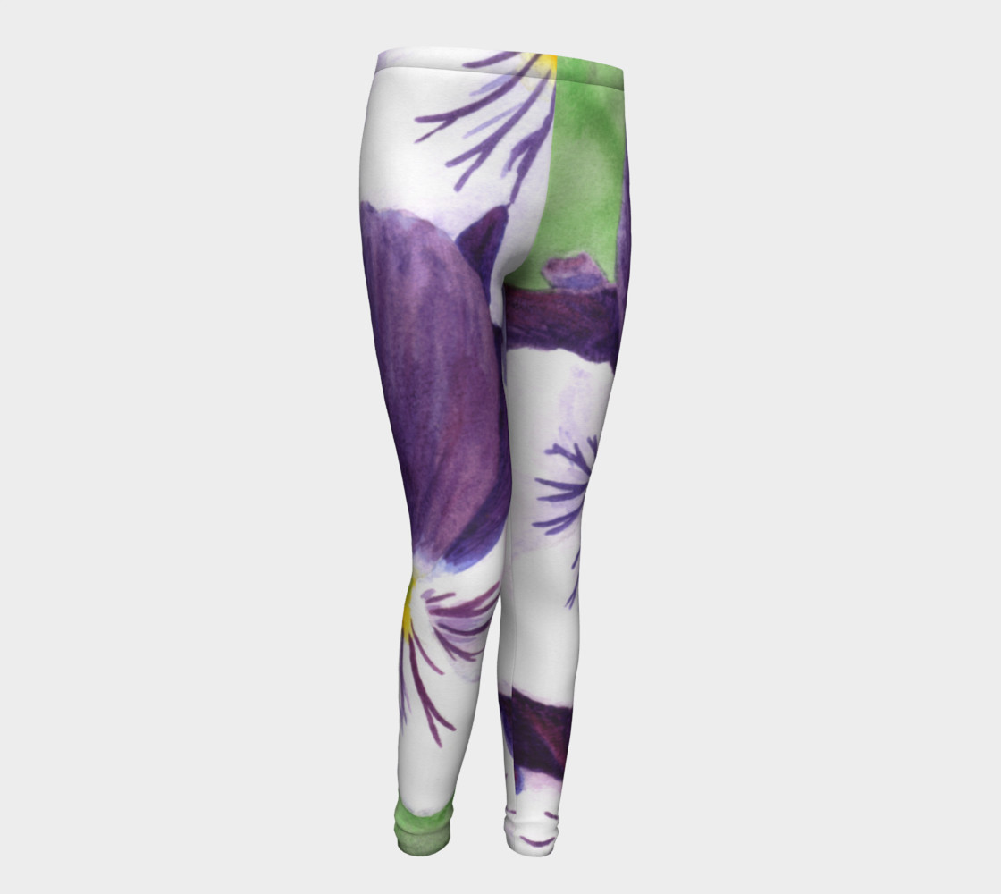 Purple and white pansies flowers Youth Leggings preview #1