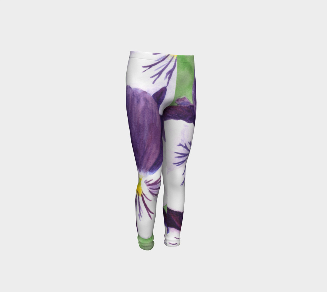 Purple and white pansies flowers Youth Leggings preview #4
