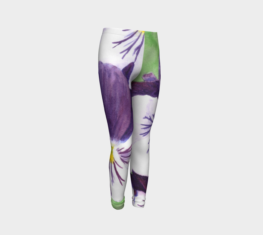 Purple and white pansies flowers Youth Leggings preview #3
