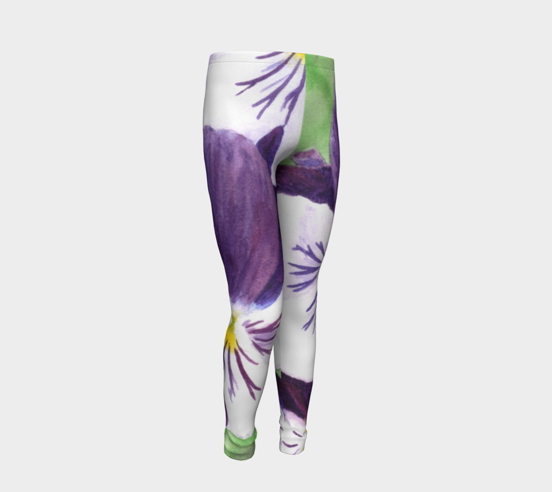 Purple and white pansies flowers Youth Leggings preview #2