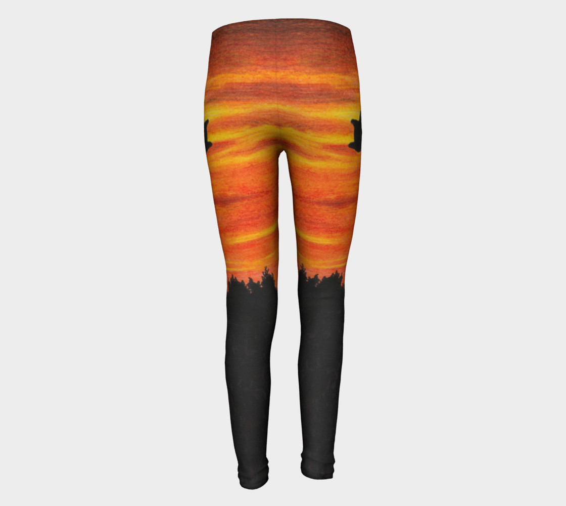 Sunset with bird Youth Leggings preview #5