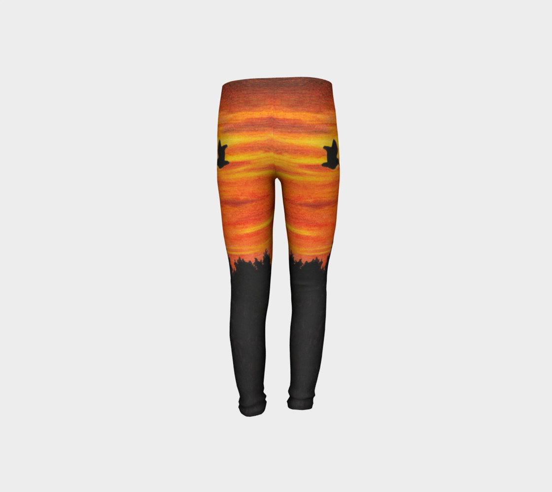 Sunset with bird Youth Leggings preview #8