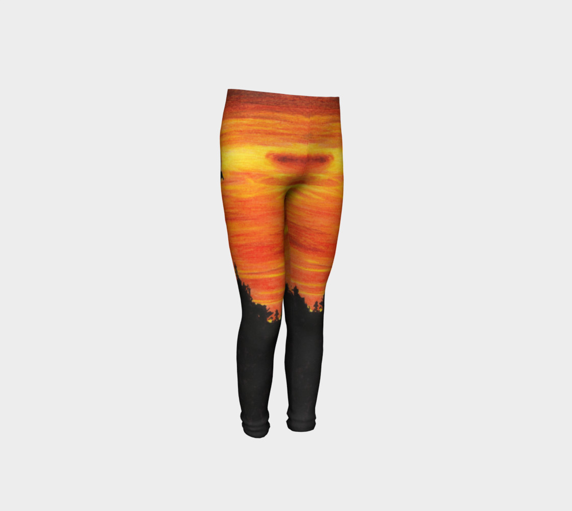 Sunset with bird Youth Leggings preview #4