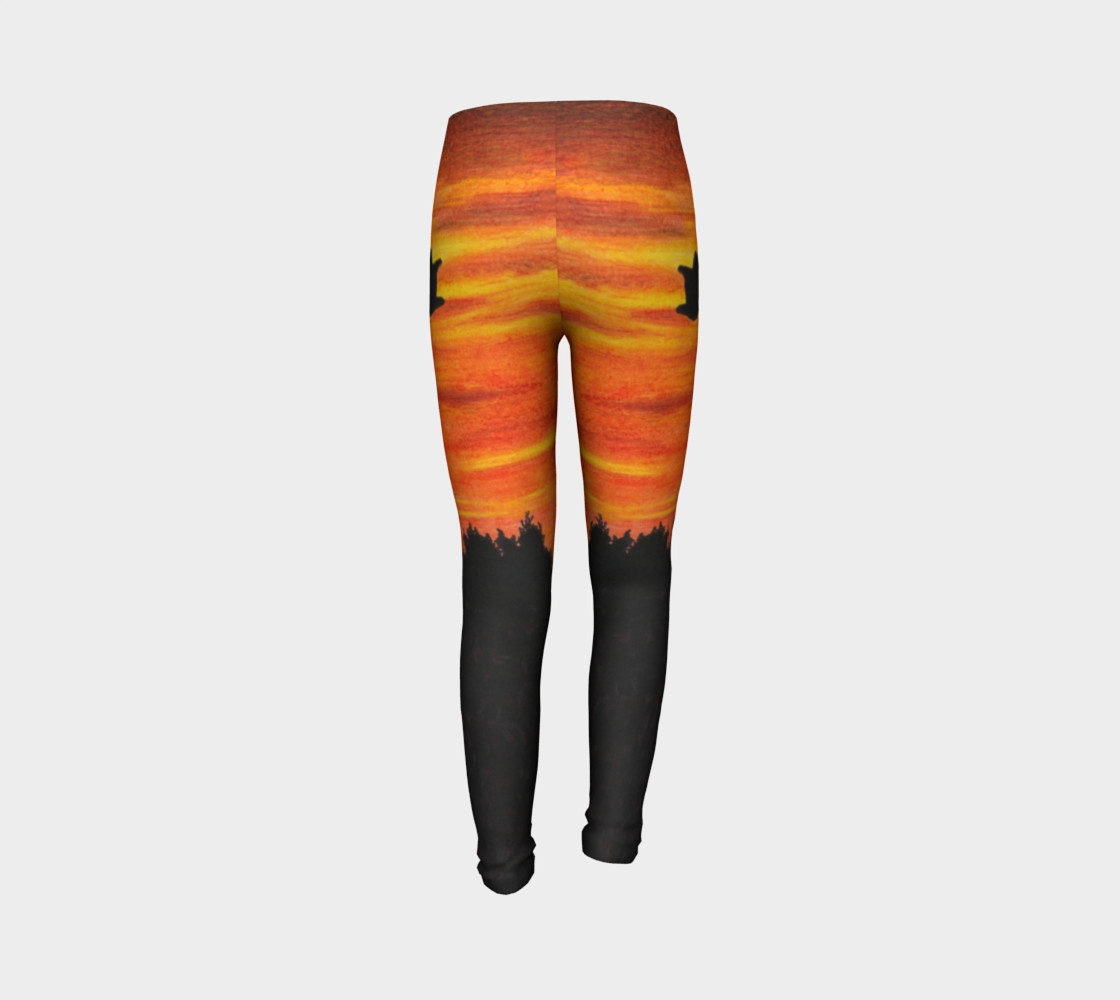 Sunset with bird Youth Leggings preview #7