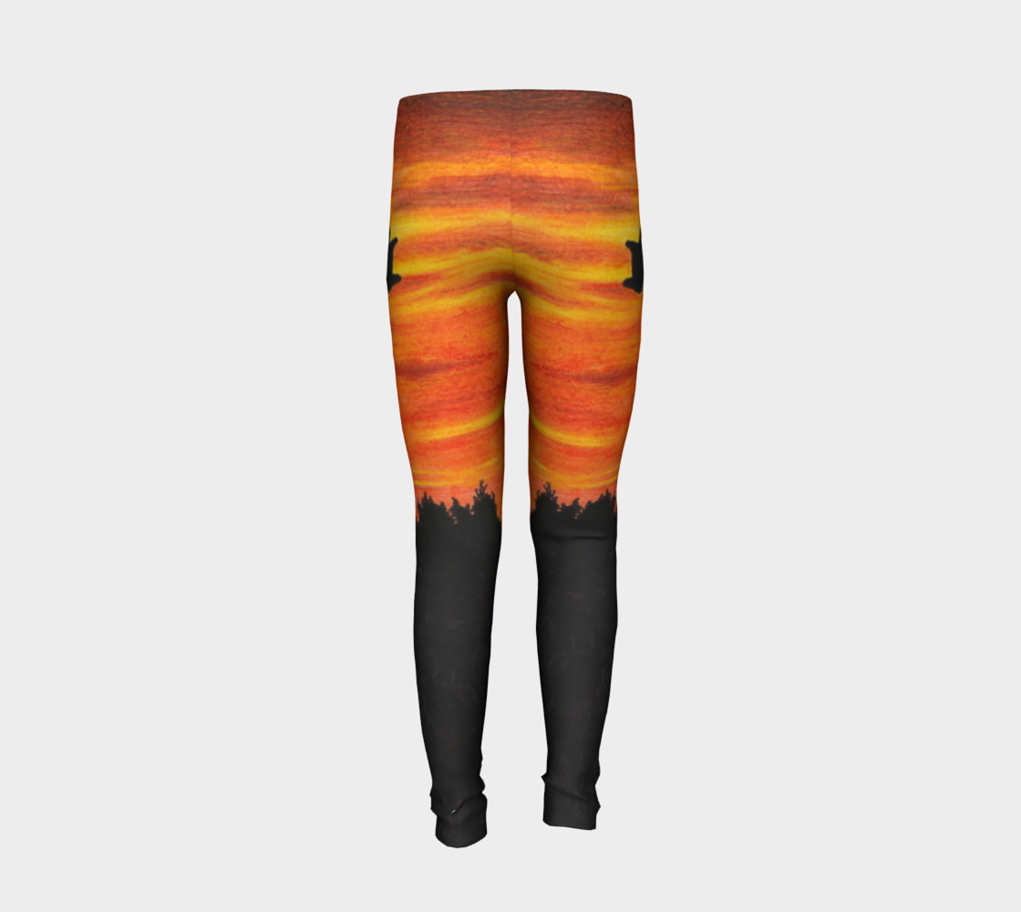 Sunset with bird Youth Leggings preview #6