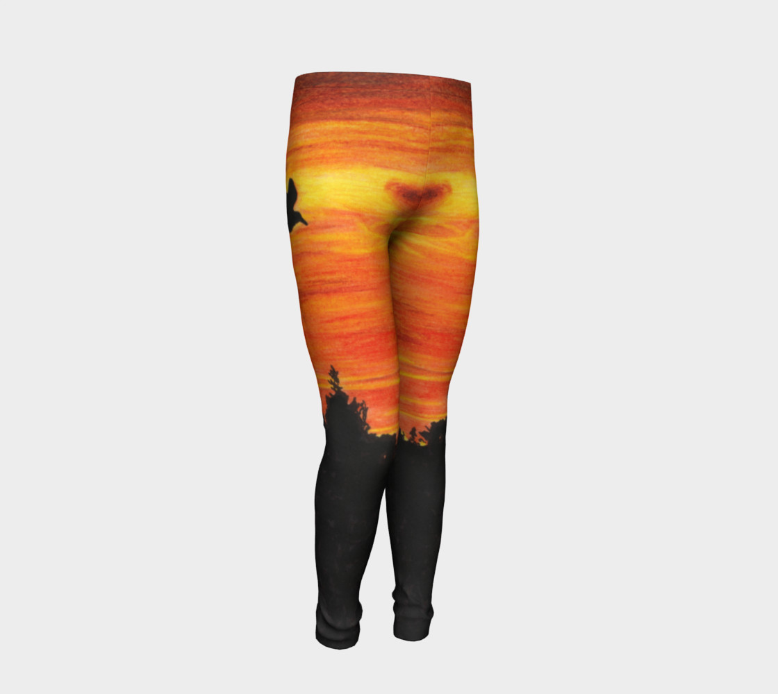 Sunset with bird Youth Leggings preview #2