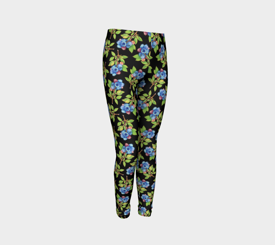 Blueberry Sprig Youth Leggings preview #3