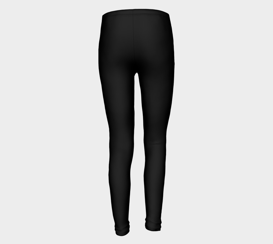 Black Colored Youth Leggings preview #5