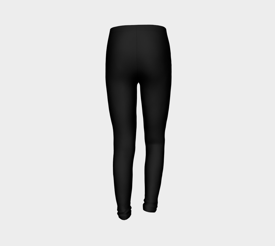 Black Colored Youth Leggings preview #7