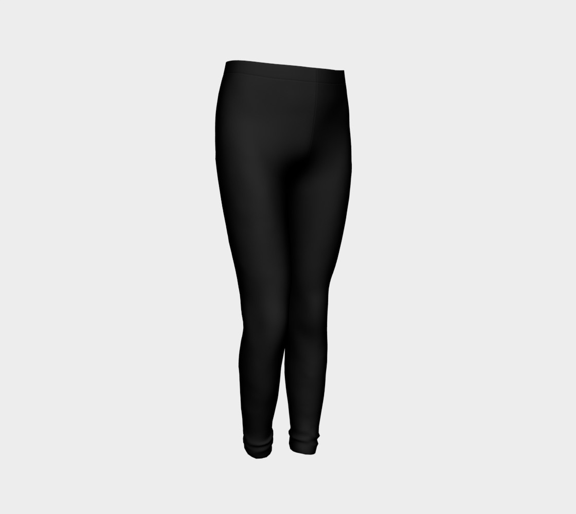 Black Colored Youth Leggings preview #3