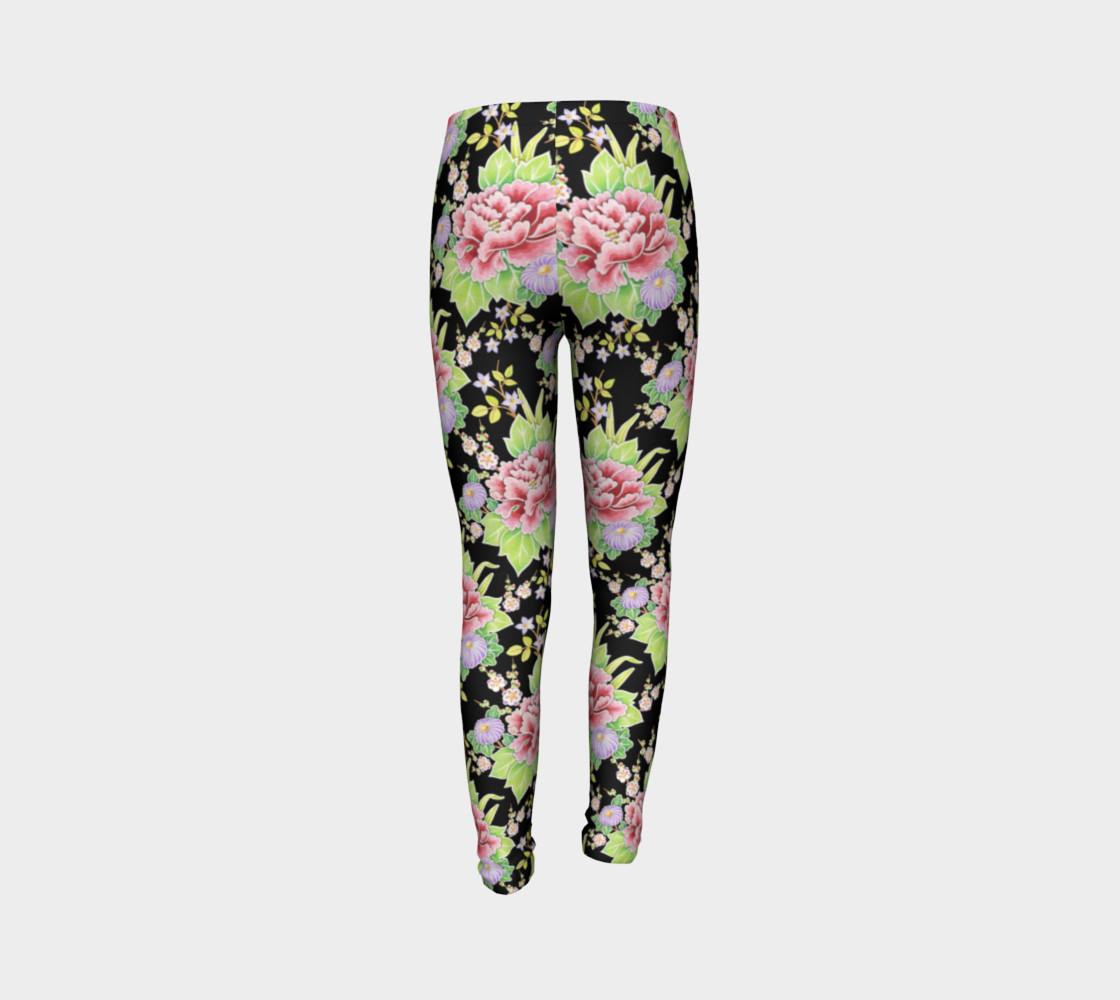 Kimono Bouquet Youth Leggings preview #7
