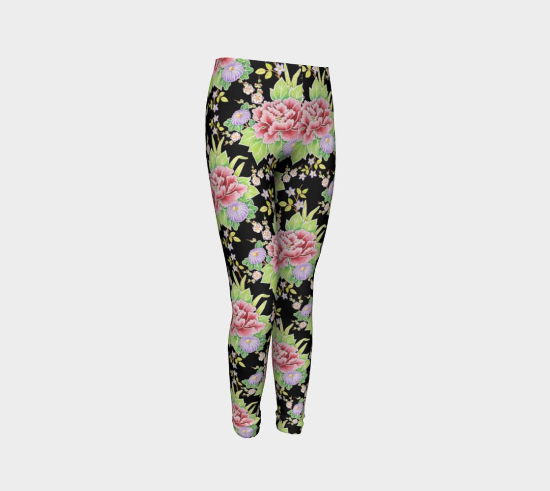 Kimono Bouquet Youth Leggings preview #3