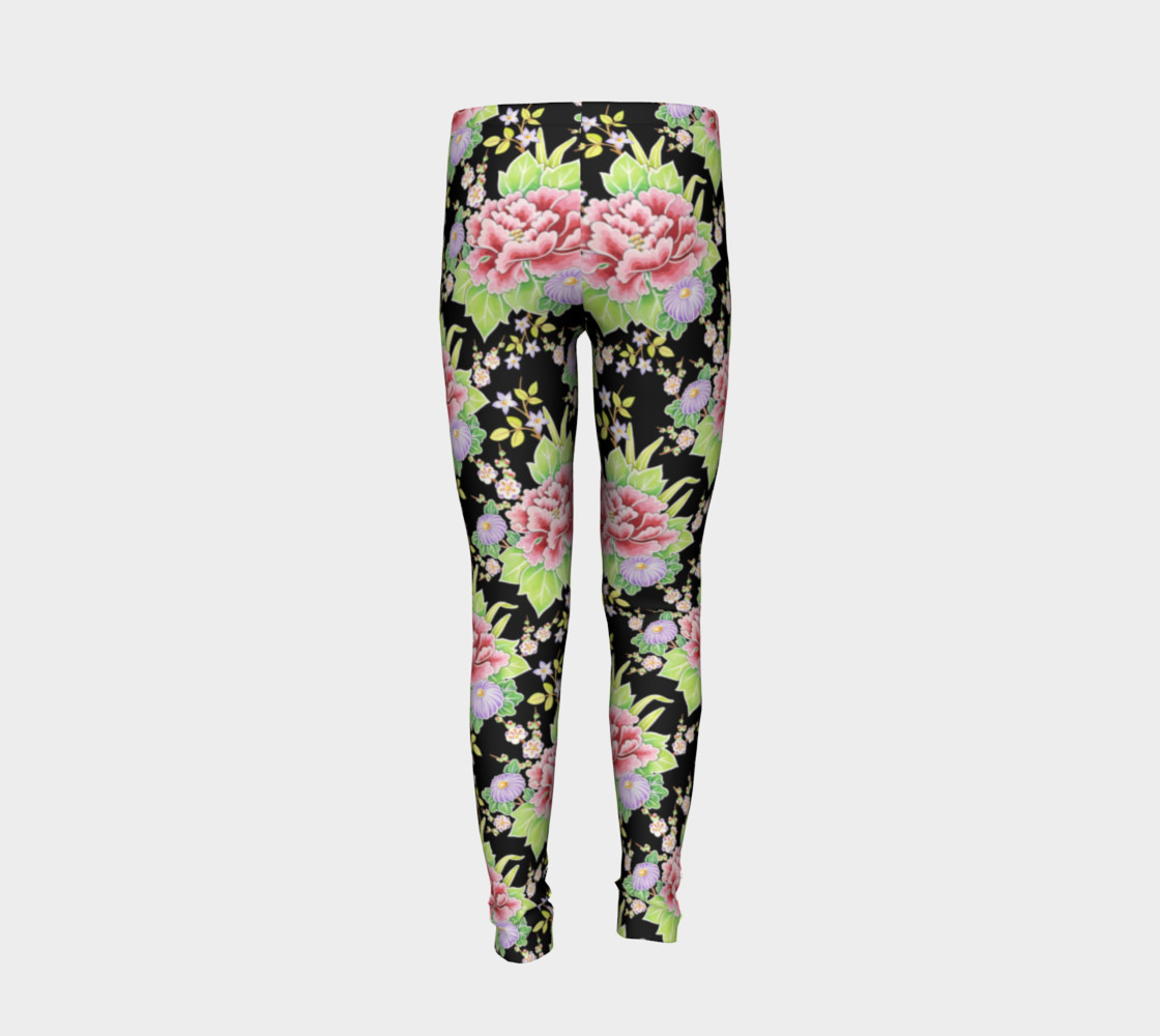 Kimono Bouquet Youth Leggings preview #6