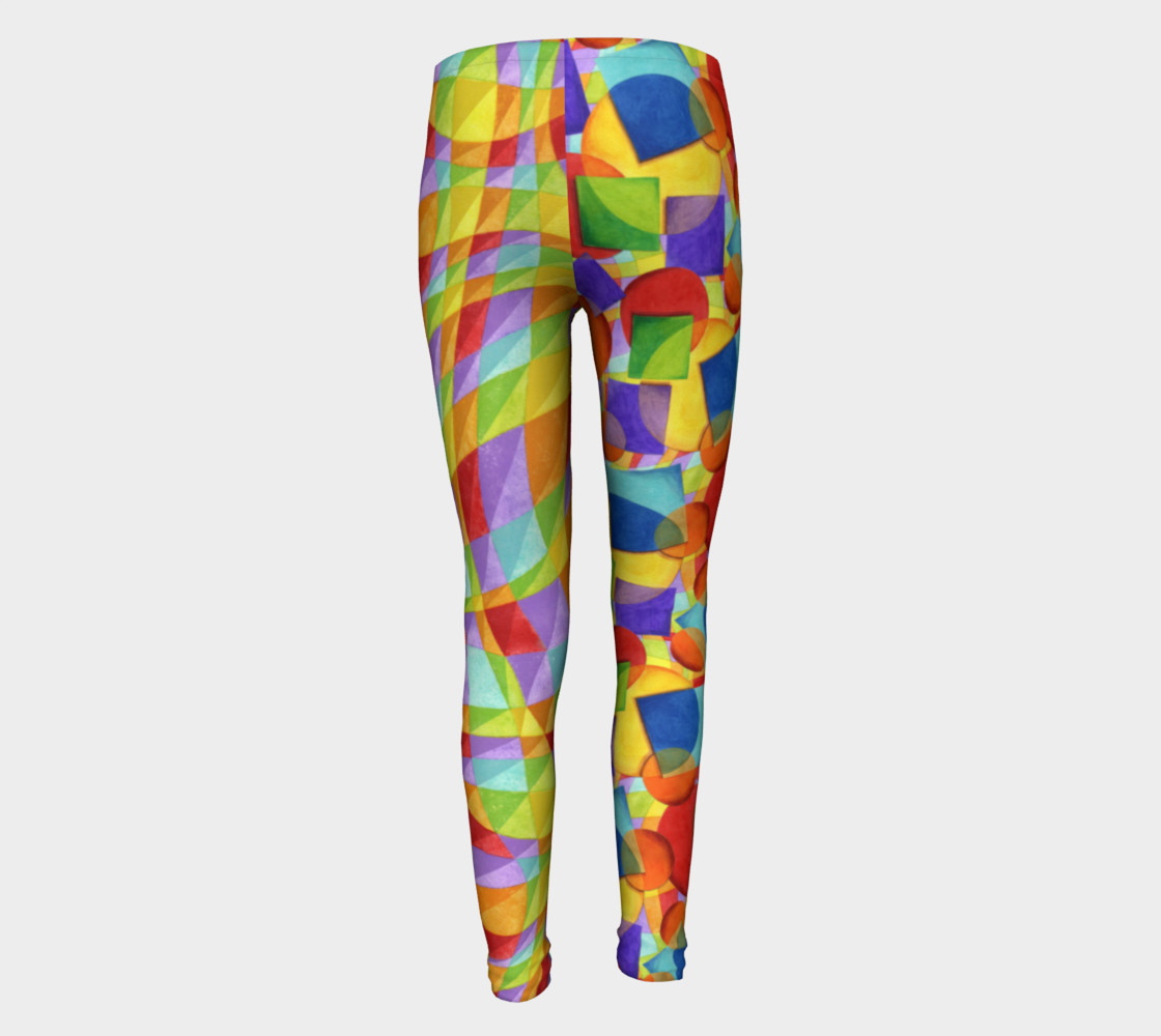 Candy Rainbow Plaid Youth Leggings preview #5