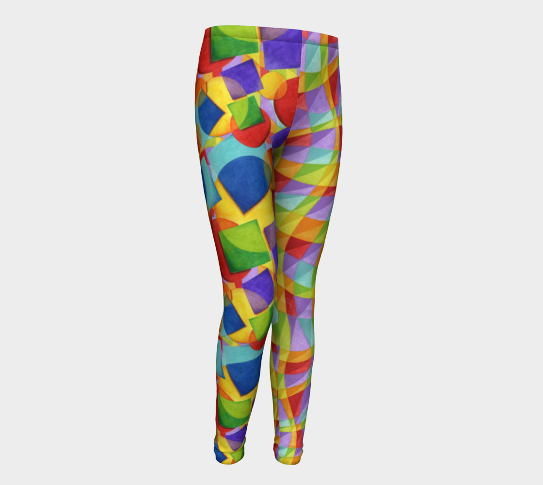 Candy Rainbow Plaid Youth Leggings preview #1