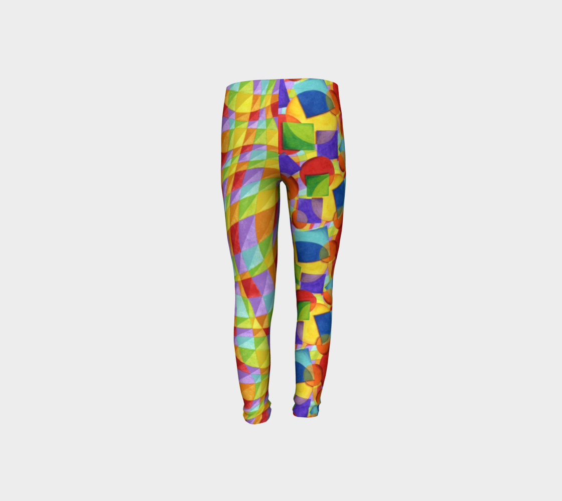 Candy Rainbow Plaid Youth Leggings preview #8