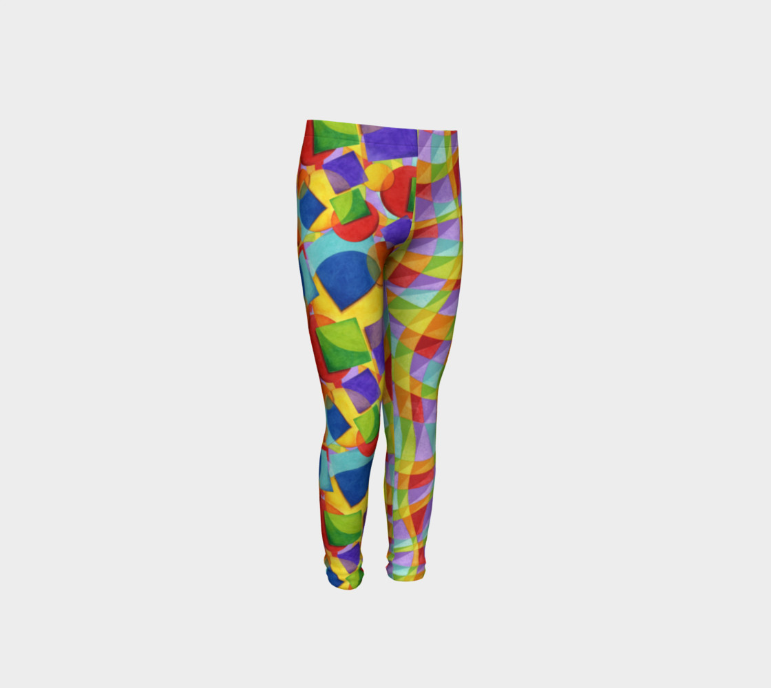 Candy Rainbow Plaid Youth Leggings preview #4