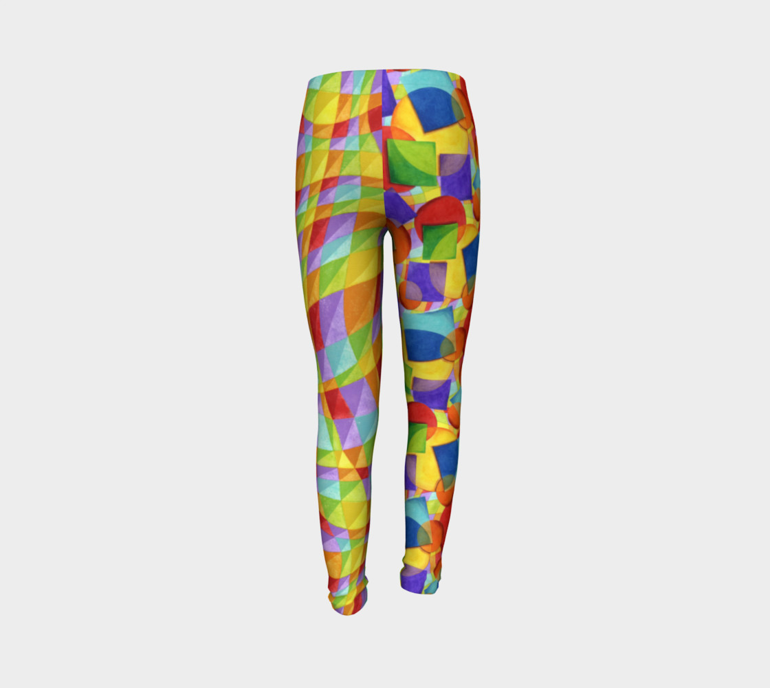 Candy Rainbow Plaid Youth Leggings preview #7