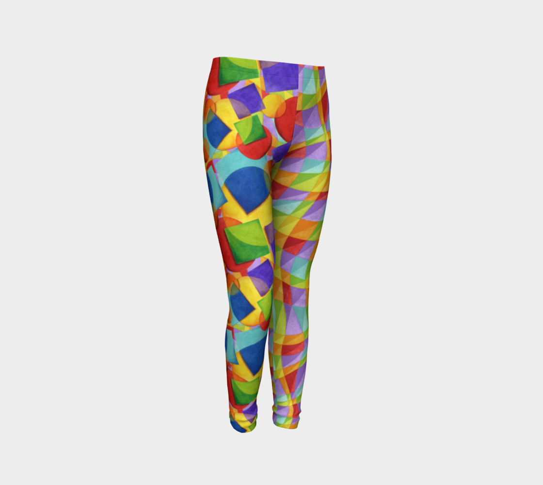 Candy Rainbow Plaid Youth Leggings preview #3